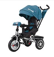 Велосипед-коляска трехколесный TILLY CAYMAN с родительской ручкой и пультом T-381/4 лен