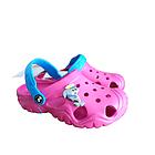 Дитячі крокси сабо з піни, рожеві з блакитним легкі шльопки на пляж, море, дачу, фото 8