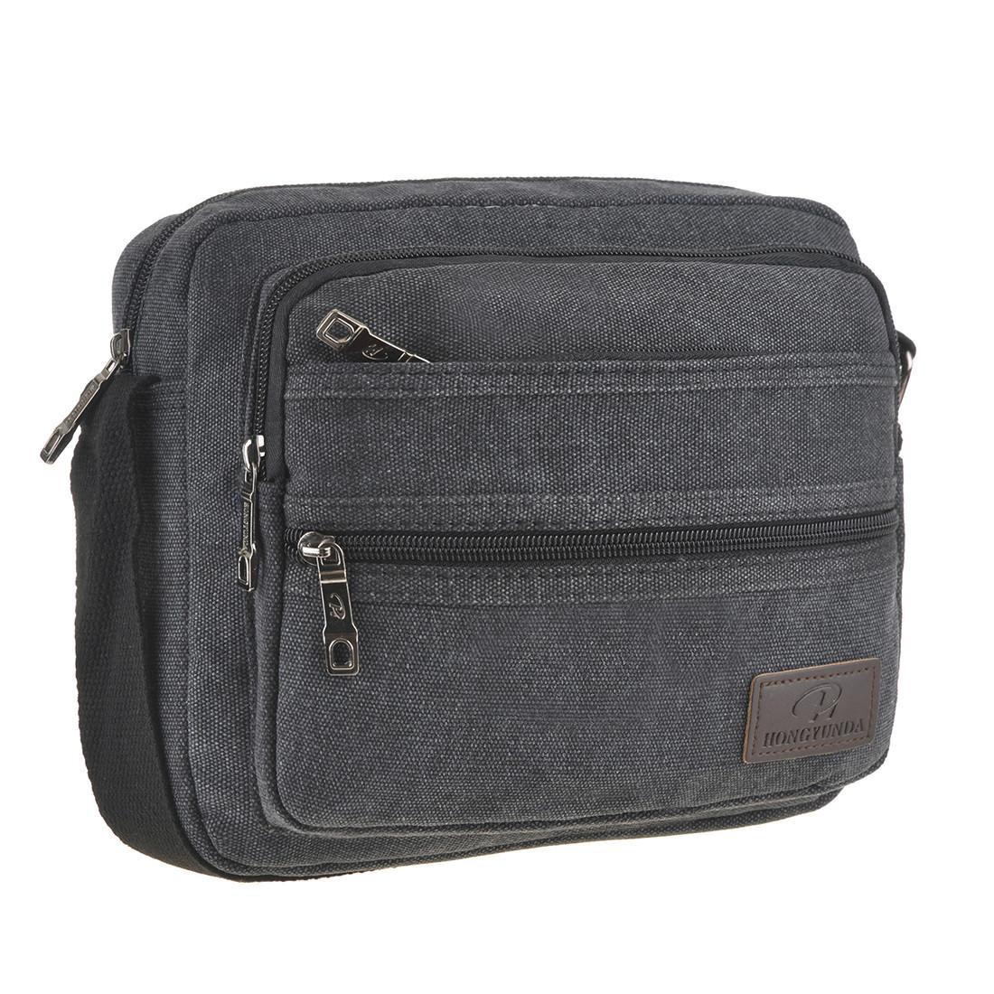 Мужская сумка HONGYUNDA горизонтальная 20х24х9 материал брезент ксФ1519ч