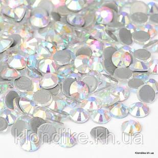 Стразы Термоклеевые, Стекло, Круглые, Граненые, Класс AA, 3.0~3.2 мм, Цвет: AB Кристалл (144 шт.)