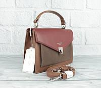 Сумочка чемоданчик через плечо David Jones 5363 бордовая комбинированная, фото 1