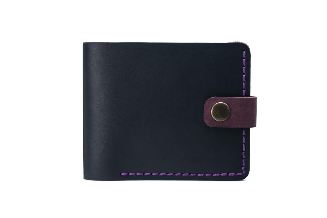 Кожаный женский кошелек Compact черный-марсала