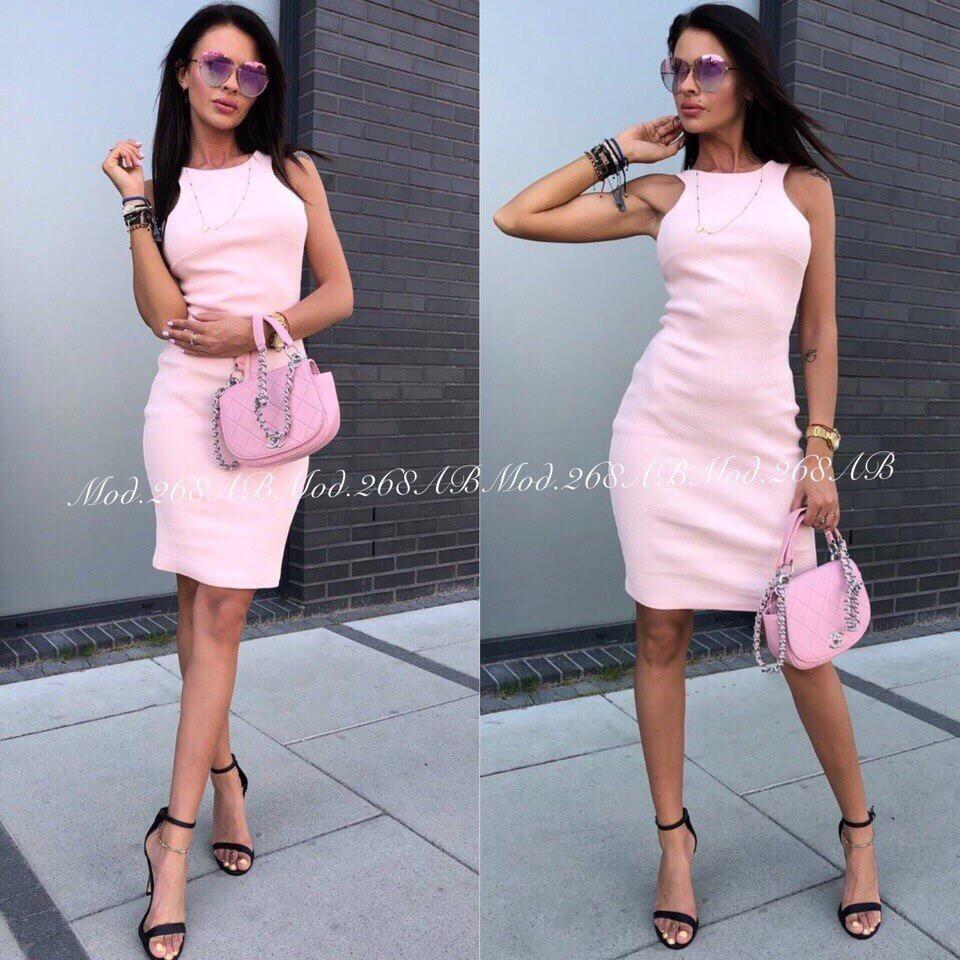 Элегантное платье по фигуре без рукавов идеально подчеркнет достоинства фигуры,3цвета. р.44-46 Код А-268З