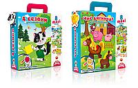 """Картонные пазлы сказка с липучками для детей Vladi Toys в ассортименте (""""4 сезона"""", """"Чей малыш?"""")"""