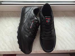Кожаные кроссовки Reebok classic 41-46 размеры, черные кроссовки, кроссовки рибук, подошва пена, рибок класик