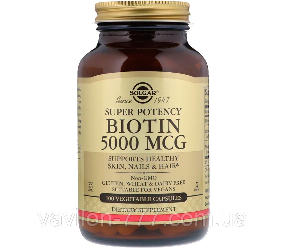 Biotin, 5,000 mcg, 100 Vegetable Capsules Solgar