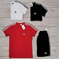 Мужской летний комплект шорты и футболка Adidas красный с черным. Живое фото. Реплика. 3 цвета!