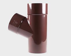 Тройник трубы Profil Д=100мм/100мм/67 градусов, цвет коричневый