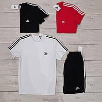 Мужской летний комплект шорты и футболка Adidas белый с черным. Живое фото. Реплика. 3 цвета!