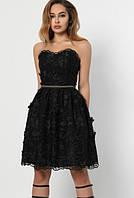 Женское коктейльное платье с пышной юбкой черного цвета