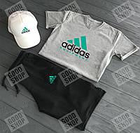 Мужской летний комплект (футболка + шорты + кепка) качество Турция, размера С-2ХЛ