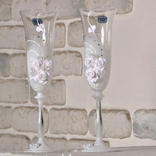 Хит! Хрустальные свадебные бокалы 190 мл ручной работы №402