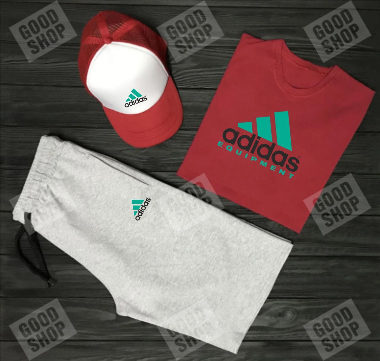 Мужской костюм тройка кепка футболка и шорты Адидас (Adidas), летний мужской костюм, копия