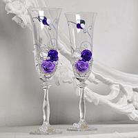 Хит! Свадебные бокалы для молодоженов 190 мл с бисером и жемчугом №103