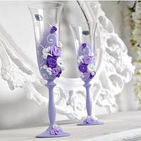 Хит! Свадебные фужеры 190 мл декоративно оформлены лепкой №403