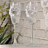 🔥 Распродажа! Свадебные бокалы ручной работы 200 мл украшены лепкой №1590