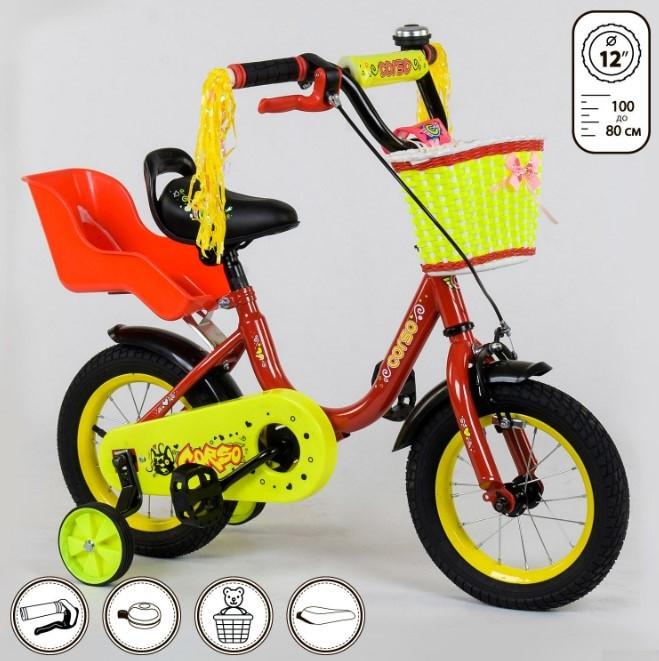 Велосипед детский двухколесный 12 красный Corso 1294
