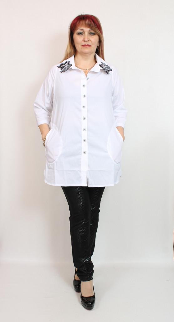 Турецкая белая офисная женская блуза рубашка, размеры 52-64