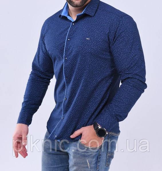 Рубашка мужская S, М, L, XXL длинный рукав. Турция. Молодежная турецкая рубашка трансформер. Синий