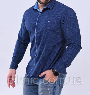 Рубашка мужская S, М, L, XXL длинный рукав. Турция. Молодежная турецкая рубашка трансформер. Синий, фото 2