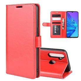 Чехол книжка для Realme 5 RMX1927 боковой с отсеком для визиток, Гладкая кожа, Красный