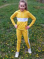 Костюм спортивний підлітковий дівчинці бавовняний з лампасами Спортивный костюм с капюшоном девочке хлопок
