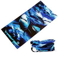 Бафф бандана-трансформер, шарф из микрофибры, акулы