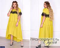 Красивое свободное летнее длинное платье с кружевом размеры батал 50-60 арт 2203
