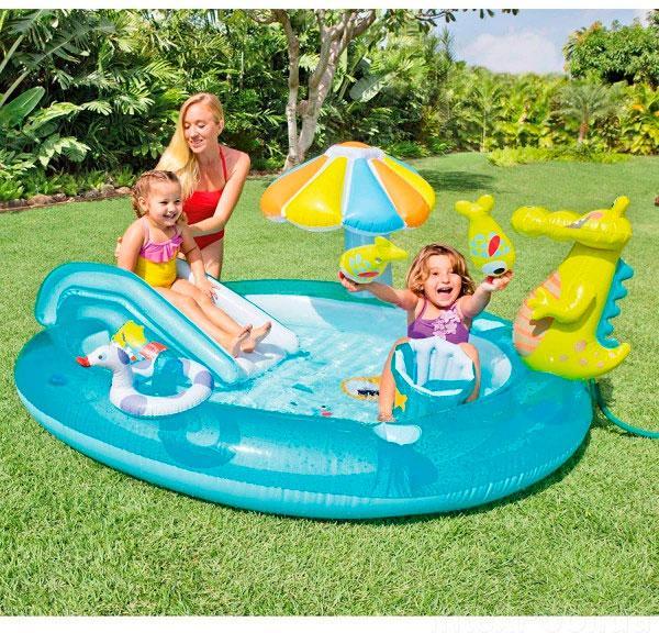 """Детский надувной игровой центр бассейн Intex 57165 """"Аллигатор"""" 201 см х 170 см х 84 см"""