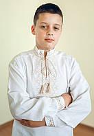Вишиванка дитяча для хлопчика Лук'ян (коричнева) 134 розмір