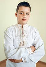 Вишиванка дитяча, для хлопчика Лук'ян (коричнева) 140 розмір