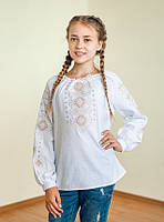 Вишиванка дитяча для дівчинки Леся (коричнева) 140 розмір