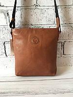 Мужская кожаная сумка Vittorio Safino барсетка, планшетка через плечо из натуральной кожи Рыжая VS 0236