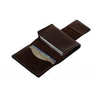 Кожаная визитница на магните Grande Pelle 302120 матовая кожа шоколад