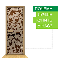 Стеклянные двери для саун и бань с рисунком 70 х 200 см (Дверная коробка ольха)