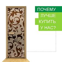 Стеклянные двери для бань и саун с рисунком 80 х 200 см (Дверная коробка ольха)
