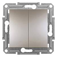 Переключатель двухклавишный проходной Schneider Electric Asfora цвет бронза (EPH0600169)