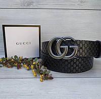Ремень Гуччи Gucci кожаный женский ширина 4 см черный модный Реплика Р-0264, фото 1