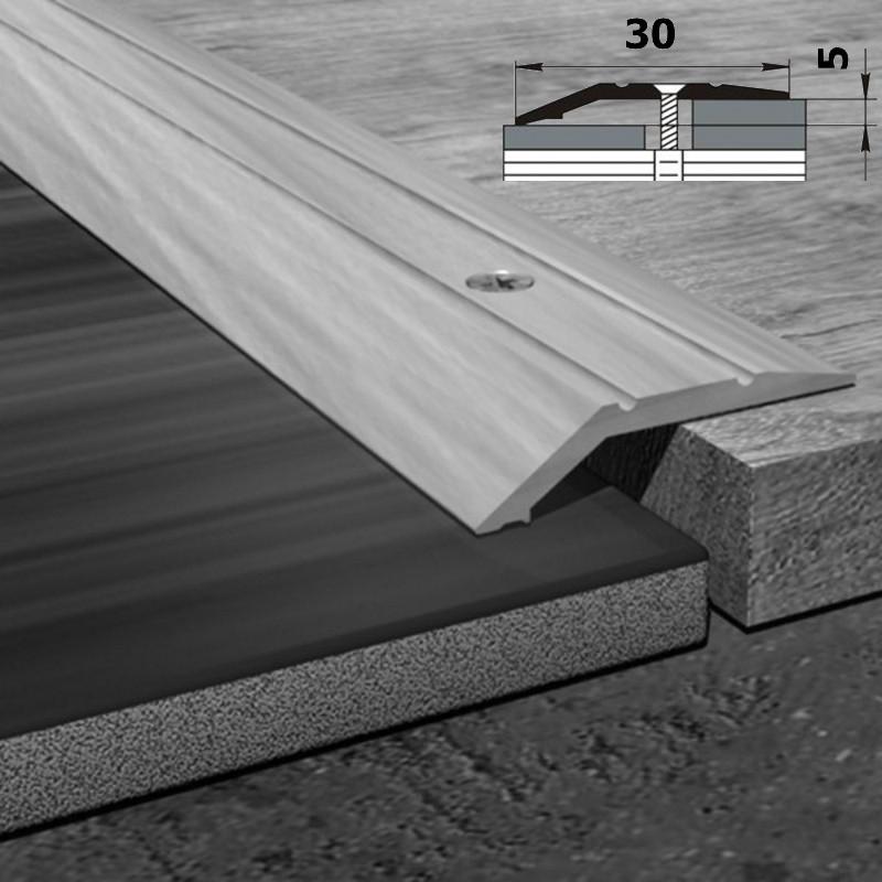 Алюминиевый разноуровневый напольный порог шириной 30 мм, перепад 5 мм 90 см