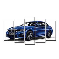 """Модульная картина на холсте """"Синий БМВ"""" 1500х700мм, фото 1"""