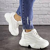 Женские кроссовки стильные белые кроссовки на танкетке удобные сникерсы
