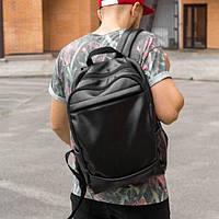 Стильный кожаный мужской рюкзак CODER чёрный на 22л, для ноутбука, городской