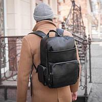 Рюкзак мужской городской кожаный mod.LOFT портфель черный на 20литров