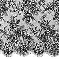 Ажурное французское кружево шантильи (с ресничками) черного цвета шириной 150 см, длина купона 3,0 м.