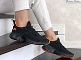 Модные женские кроссовки Adidas,текстиль,черные с красным, фото 2