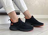 Модные женские кроссовки Adidas,текстиль,черные с красным, фото 3