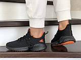 Модные женские кроссовки Adidas,текстиль,черные с красным, фото 4