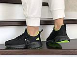 Модные женские кроссовки Adidas,текстиль,черные с салатовым, фото 2