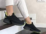 Модные женские кроссовки Adidas,текстиль,черные с салатовым, фото 3