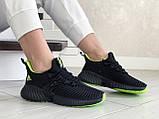Модные женские кроссовки Adidas,текстиль,черные с салатовым, фото 4